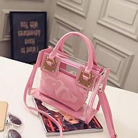 Сумка прозрачная + косметичка розовая из PVC
