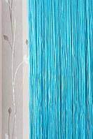 Бирюзовые однотонные шторы нити