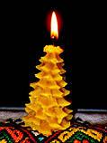 """Новорічна воскова свічка """"Ялиночка"""" з натурального бджолиного воску, фото 3"""
