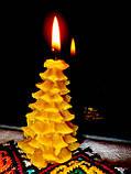 """Новорічна воскова свічка """"Ялиночка"""" з натурального бджолиного воску, фото 2"""
