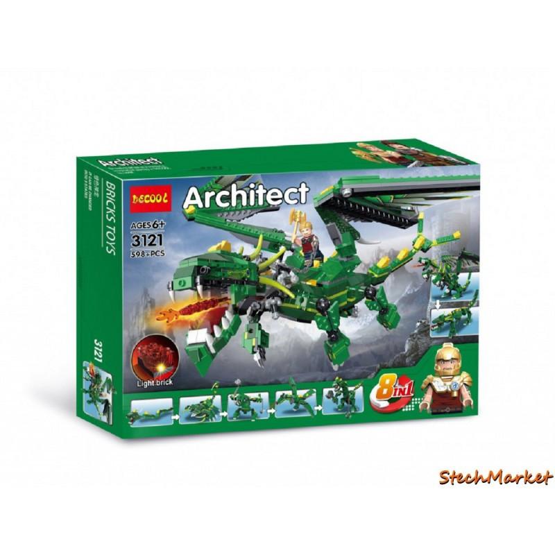 """Конструктор """"Зеленый дракон"""" Decool 8в1 3121 598 деталей"""