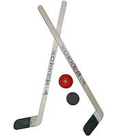 Комплект клюшек хоккейных детский малый - 63 см (2 клюшки, 1 шайба, 1 мяч)