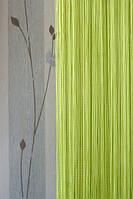 Ярко-салатовые однотонные шторы нити