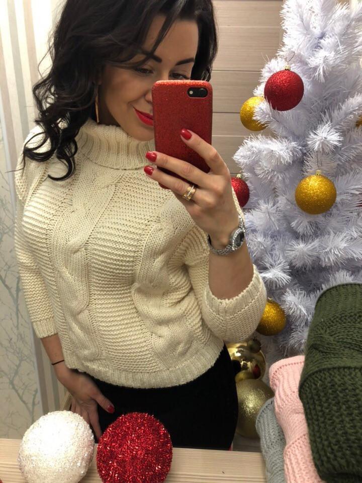 Женский свитер с высоким горлом (Фабричный Китай )  Код 0310