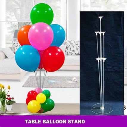 Прозрачная пластиковая подставка для  7 воздушных шаров , высота 70 см.