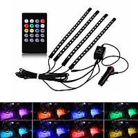 Светодиодная LED подсветка в салон автомобиля на пульте управления (8 цветов)