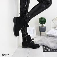 Черные зимние ботинки женские замшевые р.  36, 40, фото 1