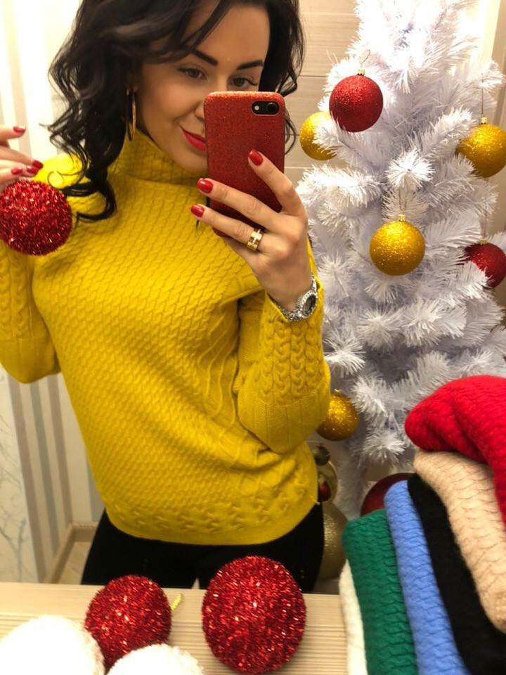 Женский свитер свободного кроя и воротником (Фабричный Китай )  Код 0321