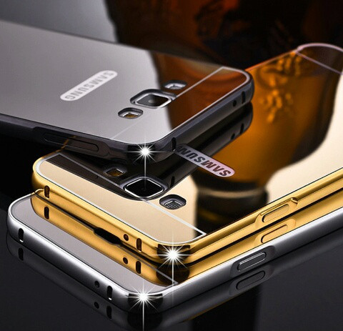 Алюминиевый чехол зеркало для Samsung Galaxy J1 (J120) 2016 Black