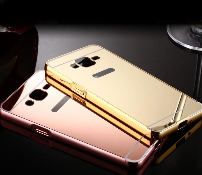 Алюминиевый чехол зеркало для Samsung Galaxy J1 (J120) 2016 Pink