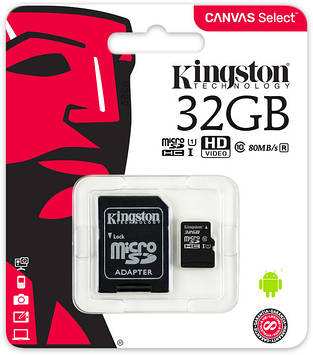 Карта памяти Kingston microSDHC 32GB Canvas Select Class 10 UHS-I U1 + SD-адаптер (SDCS/32GB)
