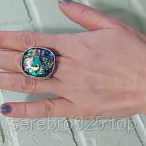 Серебряное кольцо с дихроичным стеклом, фото 3