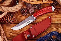 Нескладной охотничий нож с узором Офицер,  длина 25.2 см, рукоять дерево металл, чехол из кожи