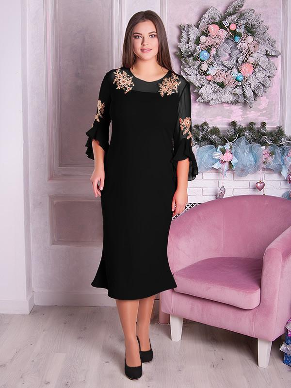 ed0e3bf98480 Элегантное черное вечернее платье для полных женщин (48-70)