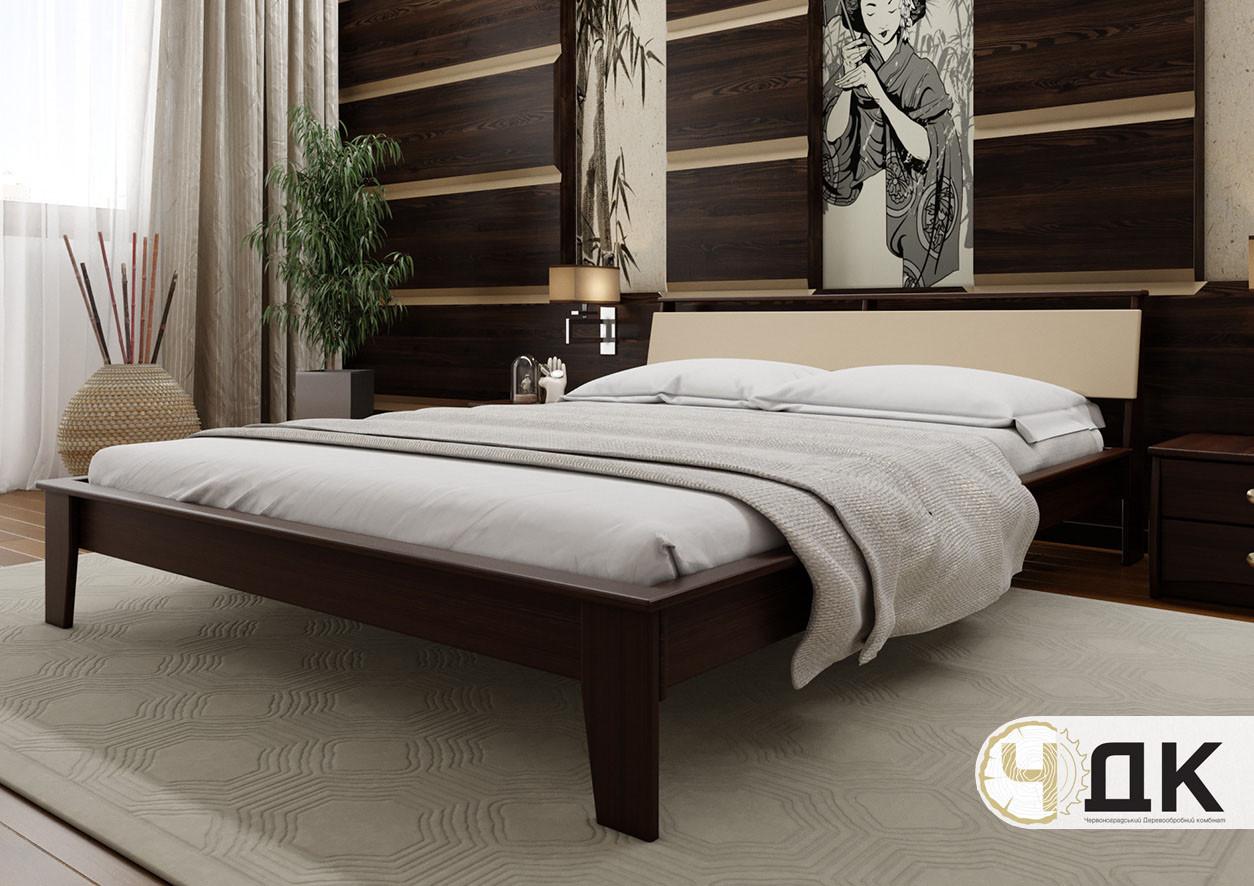 Деревянная кровать Венеция Мягкое изголовье ЧДК
