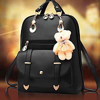 Женский рюкзак городской Винтаж с брелком мишкой Тедди,Candy Bear