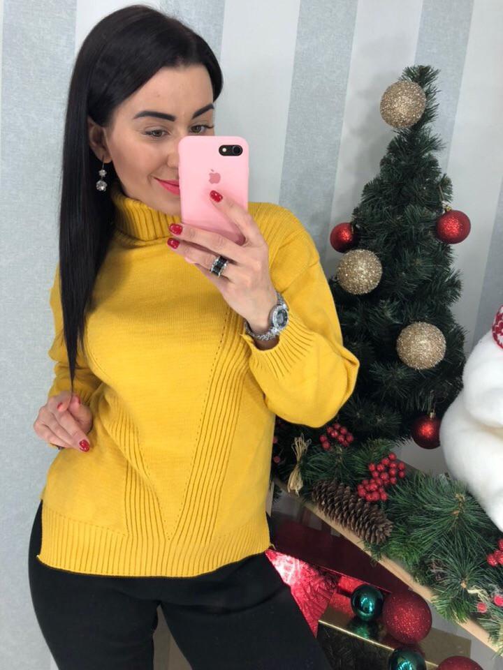 Женский восхитительный свитер с высоким горлом  (Фабричный Китай )  Код 0324