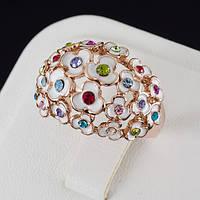 Нарядное кольцо с кристаллами Swarovski, покрытие золото 0512