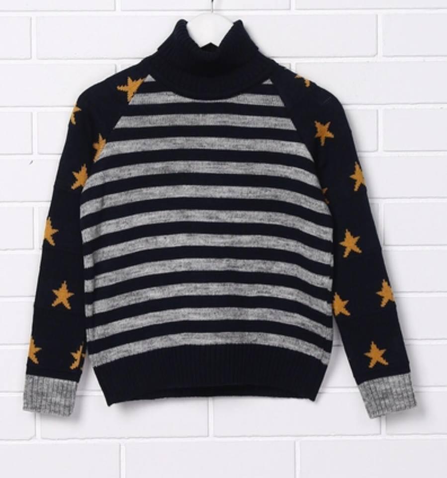 Теплый свитер с горлом для мальчика Top Hat Звезды (134,140)