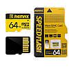 Карта памяти Remax Micro SD C10, Chip: Samsung, 64G, 0.5V, 24.6/66.8MByte/s, class10, Yellow