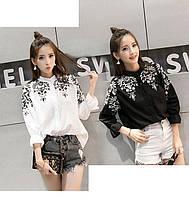 Блузка рубашка с вышивкой воротник стойка рукав три четверти, фото 1