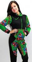 """Спортивный костюм бабушкин платок """"Матрешка"""", цвет черный с зеленым. Оптом и в розницу. Все размеры."""