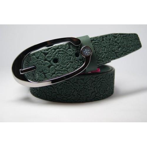 Ремень женский из цельной кожи (зеленый) Andi