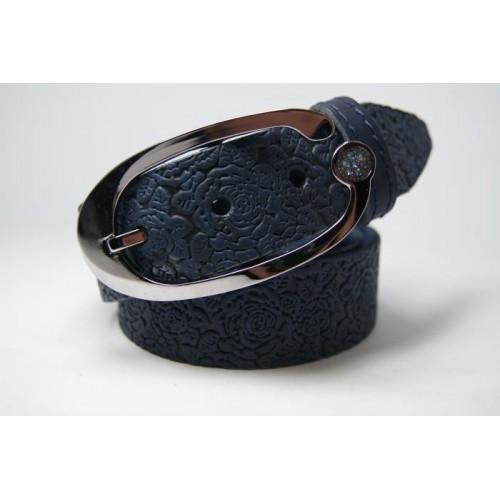 Ремень женский из цельной кожи (синий) Andi 1049_012