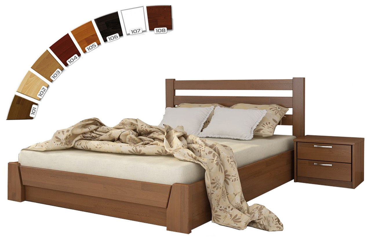 Ліжко двоспальне з натуральної деревини буку з підйомним механізмом Селена Естелла 160х200(190)