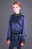 Школьная атласная блузка с жабо тм МОНЕ р-р 134, фото 1