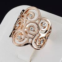 Привлекательное кольцо с кристаллами Swarovski, покрытие золото 0515