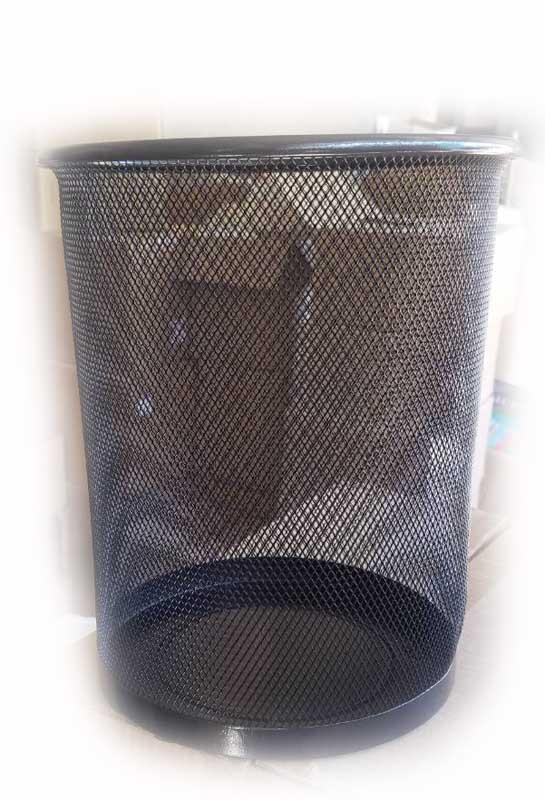 Корзина для бумаг 2089 металлическая круглая маленькая (черная) 24х26см