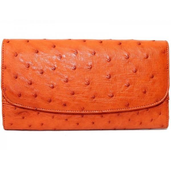 Кошелёк женский из кожи страуса 3006b. PSOS 03 EX Orange