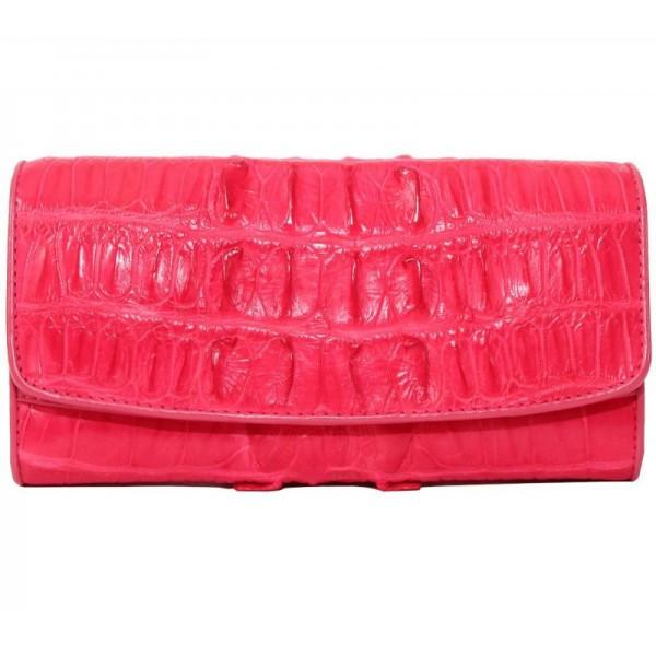 Кошелёк женский из кожи крокодила 1028. PCM 03 BT Pink