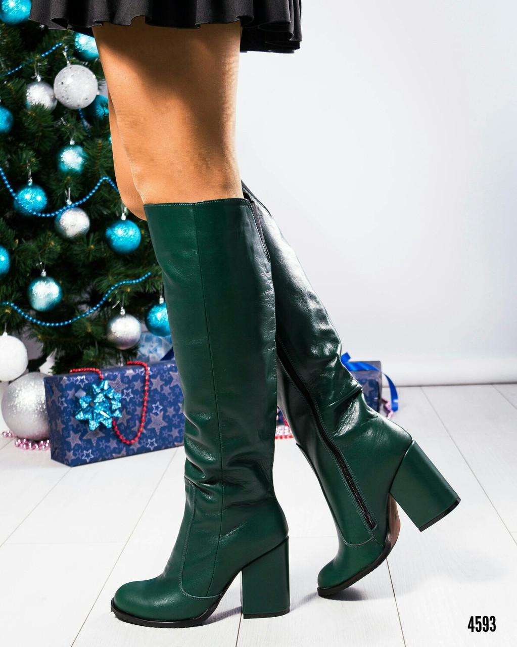 e14be6fb1fdd Зеленые кожаные сапоги-ботфорты на толстом кожаном каблуке
