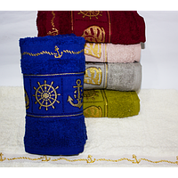 Банное турецкое полотенце Якорь - Штурвал, фото 1