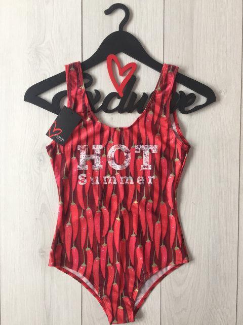 Купальник боди с надписями Hot Summer, красный купальник