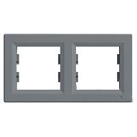 Рамка двомісна, горизонтальна, Schneider Electric Asfora сталь