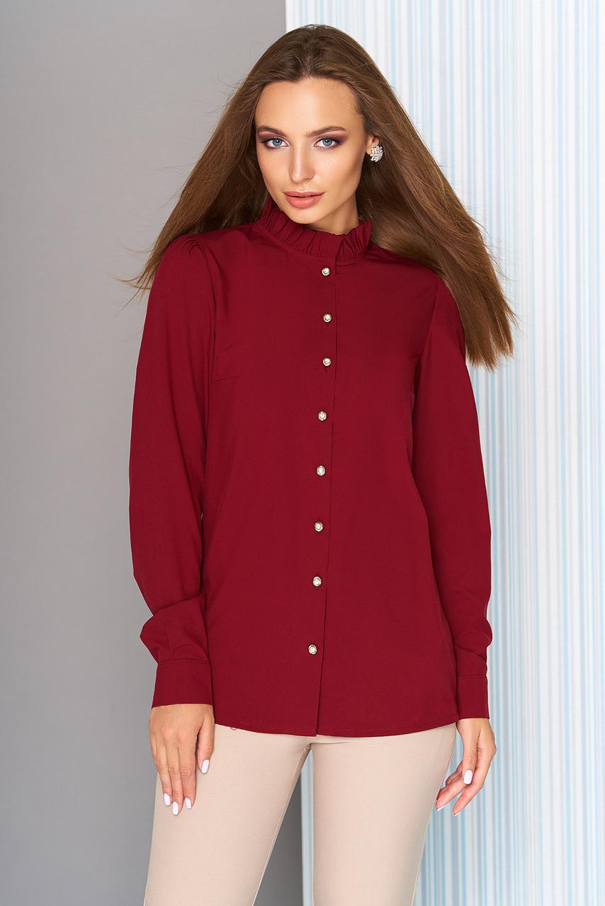 Офисная блузка с длинным рукавом бордовая