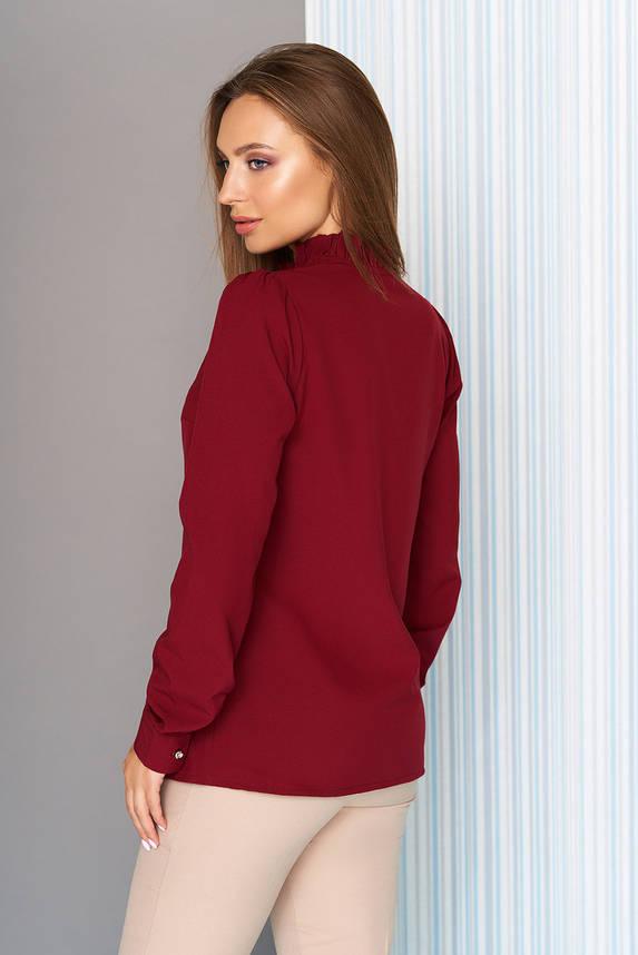 Офисная блузка с длинным рукавом бордовая, фото 2