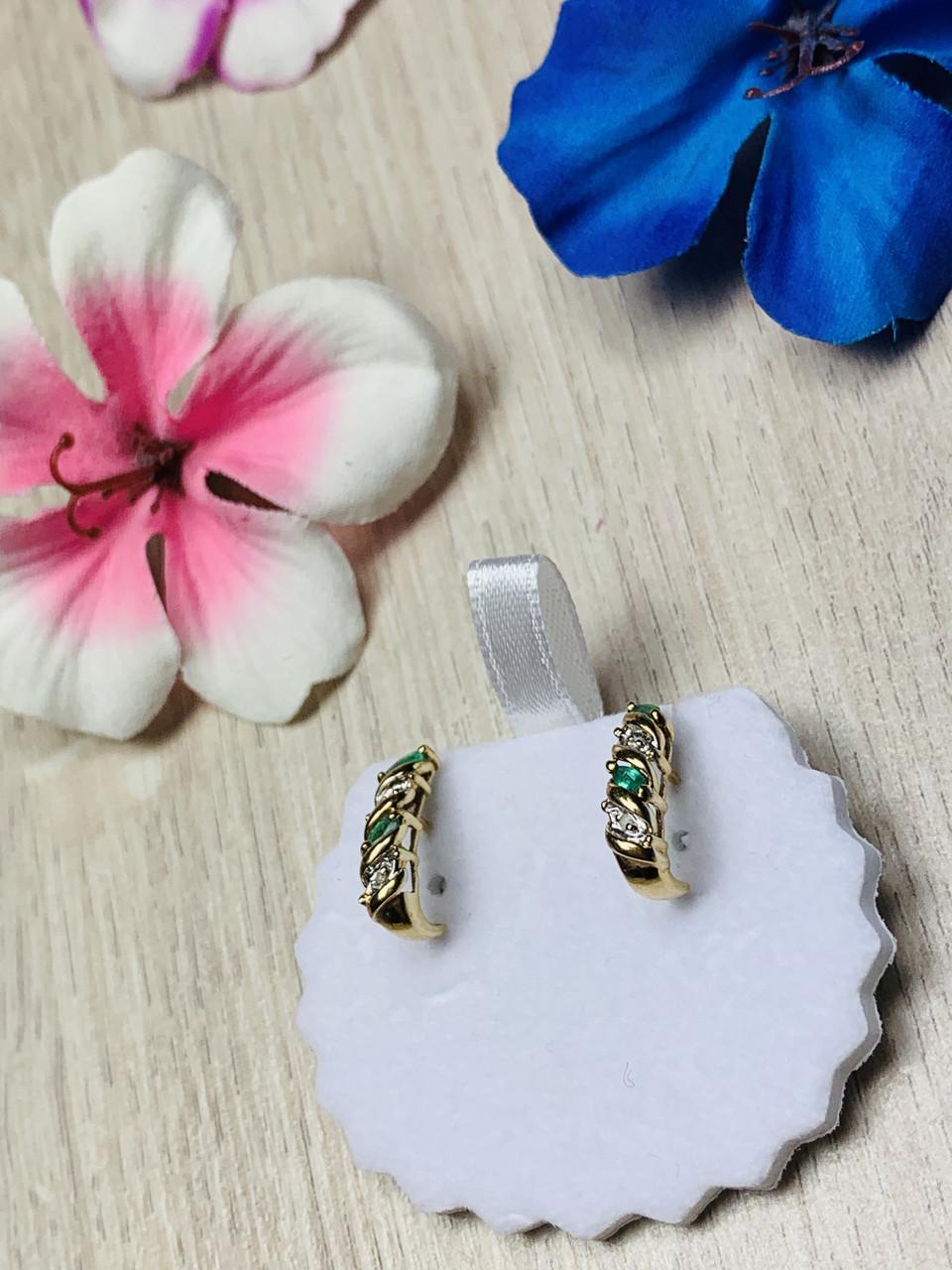 Золоті сережки 10К (417 проба ) з смарагдом і діамантами