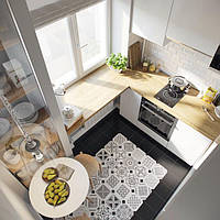 Біла кухня з підвіконням в хрущовці, фото 1