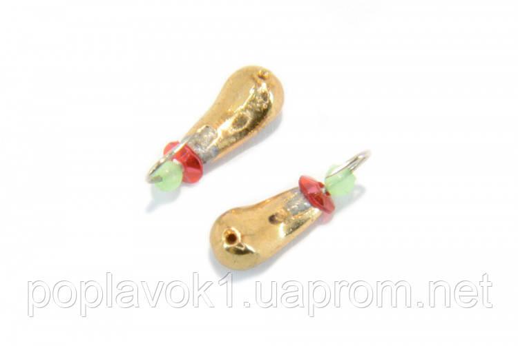 Мормышка вольфрам Башмачек с отверстием (золото) 3mm