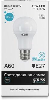 Светодиодная лампа GAUSS Elementary A60 15 Вт 4100K  E27 180-240 В