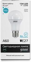 Светодиодная лампа GAUSS Elementary A60 15 Вт 4100K  E27 180-240 В, фото 1