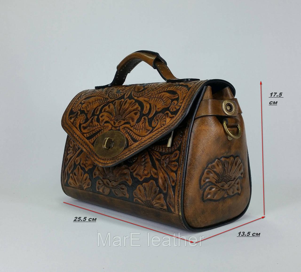 38c54cf8f589 Женская сумка саквояж с тиснением ручной работы из натуалььной кожи - MarE  leather в Белой Церкви