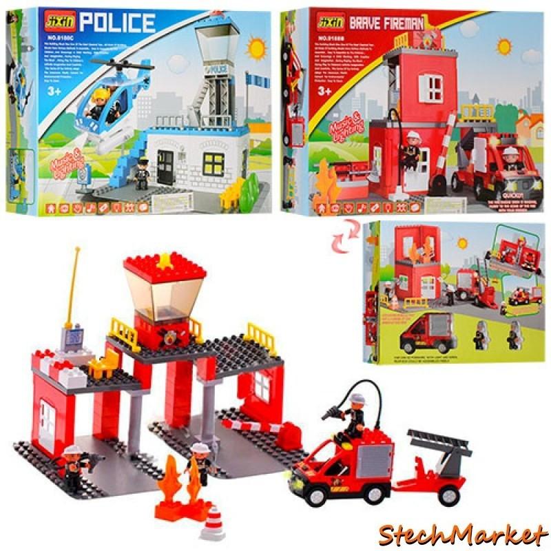 Конструктор Полицейский участок с вертолётом JIXIN 8188C-9188B 53 детали