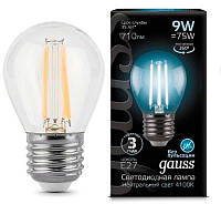Светодиодная лампа GAUSS Black filament globe P45 9 Вт 4100K E27 180-265 В