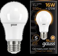 Светодиодная лампа GAUSS Black A60 16 Вт 3000K E27 150-265 В