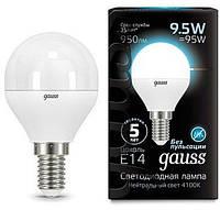 Светодиодная лампа GAUSS Black G45 9.5 Вт 4100K  E14 150-265 В